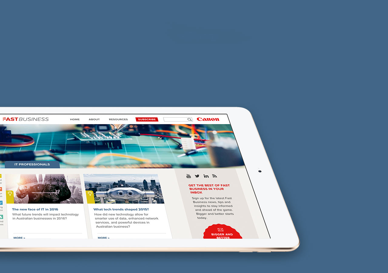 Canon FastBusiness - Tablet Website Development